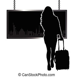 girl travel illustration with famous monument