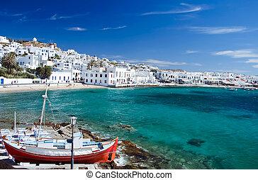 Mykonos Town - Beautiful Harbour of Mykonos Town, Greece