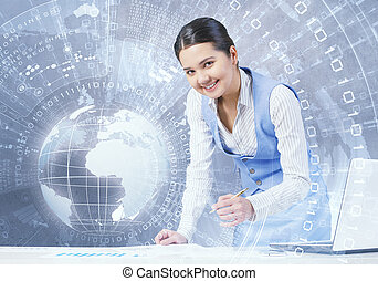 Technologies to connect the world - Young smiling...