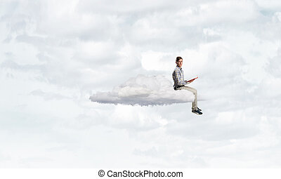 Books let you rise above the rest - Young student man...