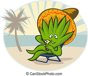 Agave plant cartoon character wearing a sombrero hat...