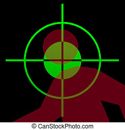 Gun sight aiming at victim