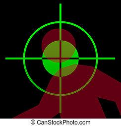 Gun sight aiming at victim
