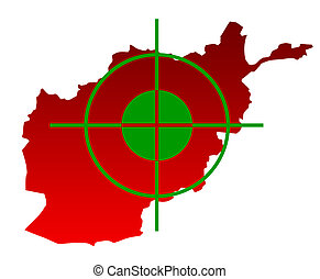 Target over map of Afghanistan