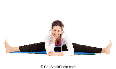 woman doing the splits - young woman doing the splits on...