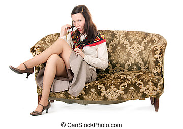 kitsch woman enticing - kitsch mature woman enticing on old...