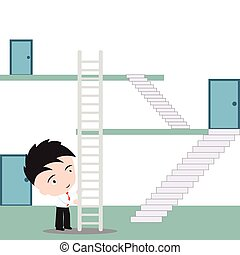 Businessman uses stairway to shortcut for going up to the top, vector illustration in flat design