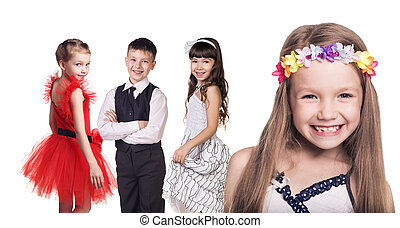 Group of little happy girls isolated in white background