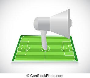 megáfono, y, futbol, campo, Ilustración,...