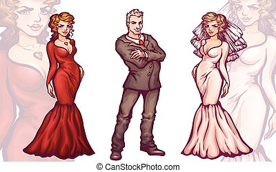 Man with woman in full dress and tux. Bride. Vector illustration
