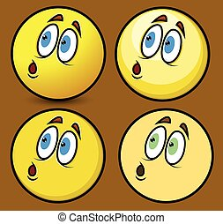 Fearful Focused Face Smiley Characters Face Expressions Set