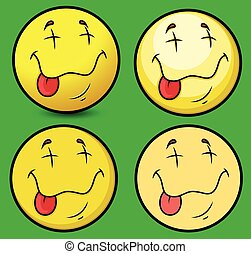 Ecstasy Face Smiley Characters Face Expression Vector...