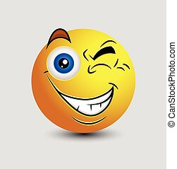 Naughty Eye Blink Emoticon Smiley Character Vector...
