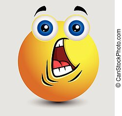 Fearful Face Emoji Character Expression Vector Illustration