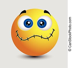 Sewn Up Lips Smiley Character Face Expression Vector...