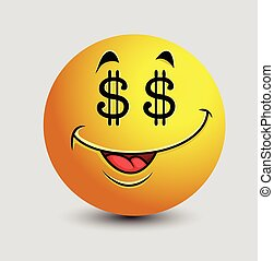 Greedy Dollar Eyes Emoticon Character Vector Illustration