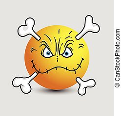 Angry Halloween Sewn Up Lips Skull Smiley Character Vector...