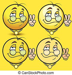 Victory Sign - Wealthy Man Emoticons Vector Illustration