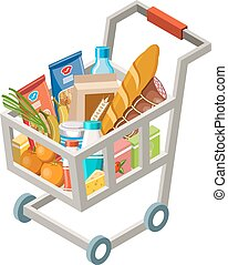 Cart with products - Vector illustration of the cart with...