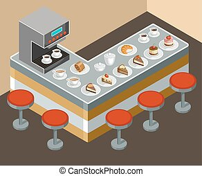 Coffee house - Vector illustration of a coffee house. Coffee...