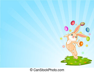Juggling bunny - Cute little bunny juggling with Easter Eggs...