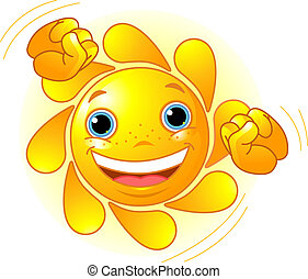 Cute dancing Sun  - Cute and shiny Sun dancing in the sky