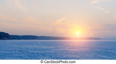 Sunset On The Lake - Beautiful sunset on the frozen winter...
