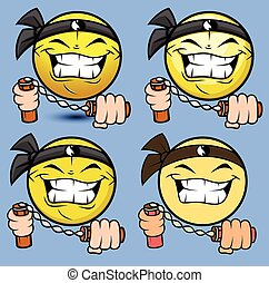 Cartoon Shaolin Emoji with Nunchaku - Cartoon Shaolin...