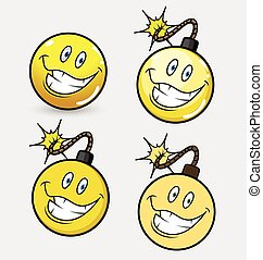 Comic Bomb Emoji Smiley Set