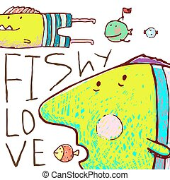 Lovely Cartoon Funny Fish Love Greeting Card Design Hand...