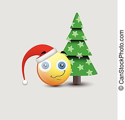 Happy Emoticon with Christmas Tree