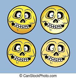 Horrible Halloween Skull Emoticons