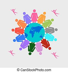 Women Empowered - Vector Illustration of Women Holding...