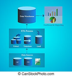 Data Warehouse Architecture - Vector Illustration of Data...