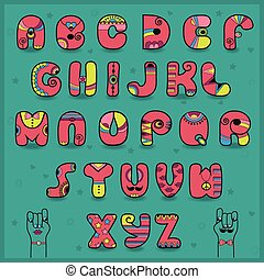 Candy Alphabet. Funny pink and yellow letters. Vector...