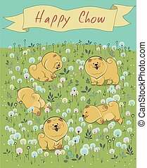Happy puppies on the blossoming field. Vector Illustration