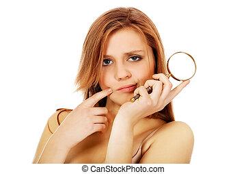 pensando, adolescente, mulher, segurando, magnificar, vidro,...