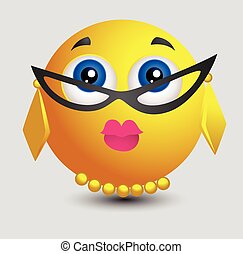 Teacher Look Emoji Smiley Lady Vector Illustration