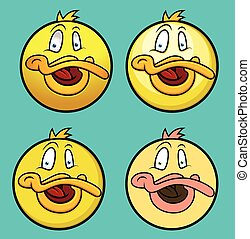 Ducky Smiley Set - Ducky Smiley Characters Set Vector...