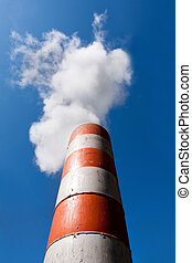 Industrial fume exhaust smokestack - Red orange with white...