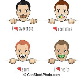 happy faces with big smile with different shapes and symbols...