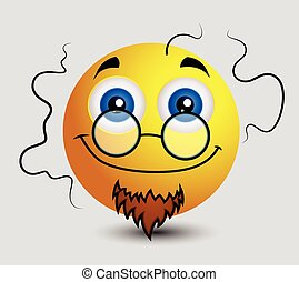 Stinky Cartoon Professor Emoticon Character Vector...