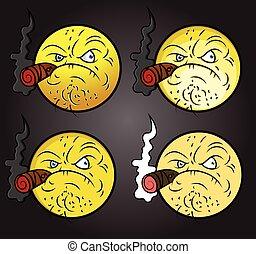 Bad Gangster Smiley Set Vector Illustration