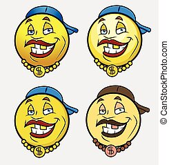 Rap Singer Emoji Smiley Vector