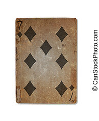 Very old playing card, seven of diamonds - Very old playing...