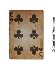 Very old playing card, six of clubs - Very old playing card...