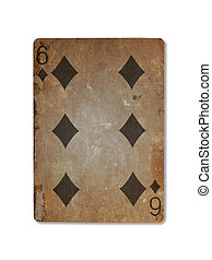 Very old playing card, six of diamonds - Very old playing...