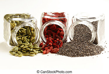 Super food - goji berries, chia seeds and pumpkin seeds