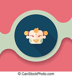 Chinese New Year flat icon with long shadow,eps10, Maitreya...