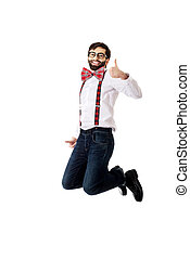 Old fashioned man wearing suspenders jumping - Funny man...